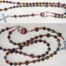 WEARABLE CATHOLIC ROSARY NECKLACE RAINBOW CALSILICA & SILVER *NEW CONCEPT*