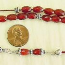 GREEK KOMBOLOI FACETED CARNELIAN & STERLING SILVER WORRY BEADS