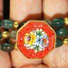 Unique Vintage Pristine Micromosaic Brooch & Bracelets in Bloodstone & Vermeil