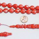 PRAYER BEADS TESBIH RED & WHITE MARBLED VINTAGE GALALITH UNIQUE XR COLLECTOR'S