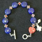 Anglican Rosary bracelet Lapis Lazuli rose Quartz Sterling silver and enamel