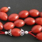Greek Komboloi worry beads Red Marble & Sterling Silver