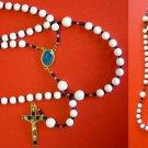 CATHOLIC ROSARY WHITE JADE, VERMEIL LADY OF FATIMA VINTAGE ENAMEL CROSS & CENTER