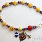 Catholic Rosary Bracelet Vintage Butterscotch Amber Lapis Coral Sterling Silver