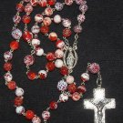 Catholic Chain Rosary Prayer Beads Fire Crackled Red Agate and Sterling Silver