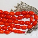 Islamic Prayer Beads 99 Dark Orange Coral & Sterling -Rare cut- Collector's