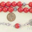 GREEK KOMBOLOI RED CORAL AND STERLING SILVER