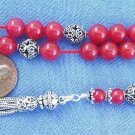 GREEK KOMBOLOI GENUINE INDIAN RUBY & STERLING - V.ATTRACTIVE COLLECTOR'S