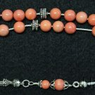 Luxury Pink Komboloi Pink Agel Skin Coral and Sterling Silver