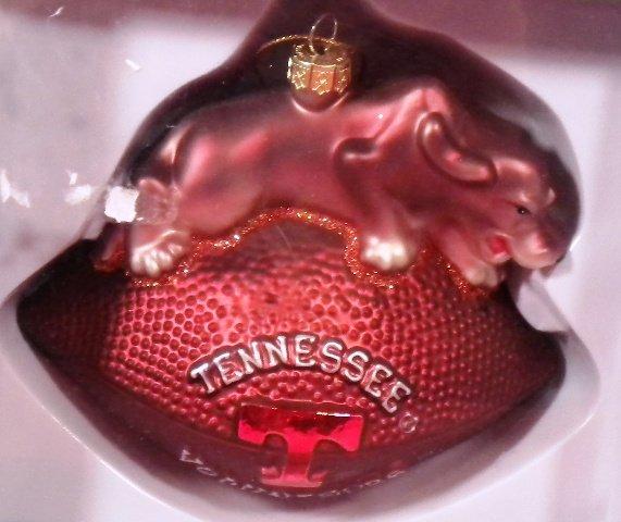 Tennessee Glass Football Mascot Ornament