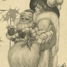 Christmas Greetings 1913 Santa Claus and Lady Postcard