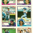 1983 Topps Baseball Uncut Sheet MIKE WITT PETE FALCONE