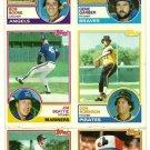 1983 Topps Baseball Uncut Sheet GENE GARBER BOB BOONE