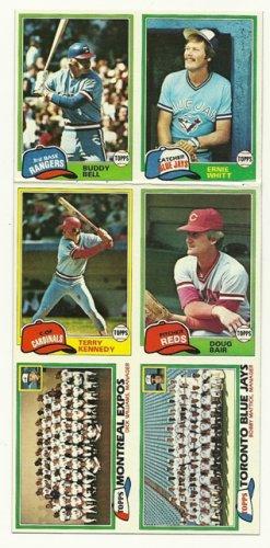 1981 Topps Baseball Uncut Sheet BUDDY BELL ERNIE WHITT