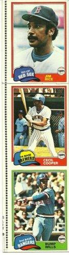 1981 Topps Baseball Uncut Sheet JIM RICE CECIL COOPER