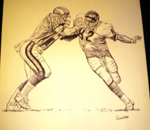 Alan Page Hall of Famer Viking and Bears Shell Oil Drawing NFL 1981