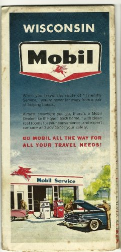 1963 Foldout Highway Map of Wisconsin Mobil