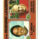 1976 Topps Football Card #203 Rushing Leaders OJ SIMPSON JIM OTIS