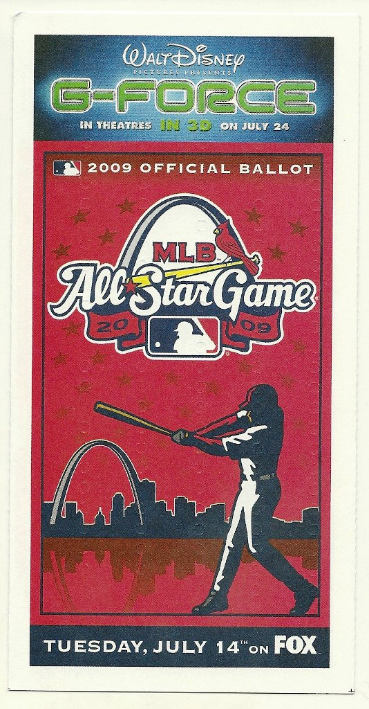 2009 MLB All Star Game Ballot Baseball Card Major League Baseball
