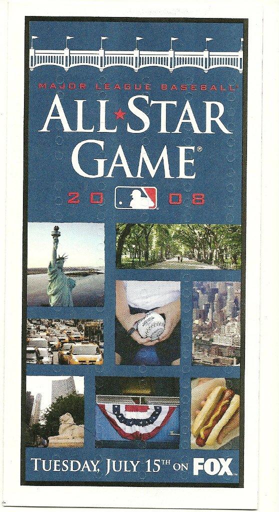 2008 MLB All Star Game Ballot Baseball Card Major League Baseball