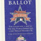 1997 MLB All Star Game Ballot Baseball Card Major League Baseball
