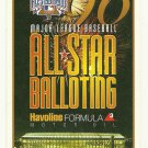 1996 MLB All Star Game Ballot Baseball Card Major League Baseball