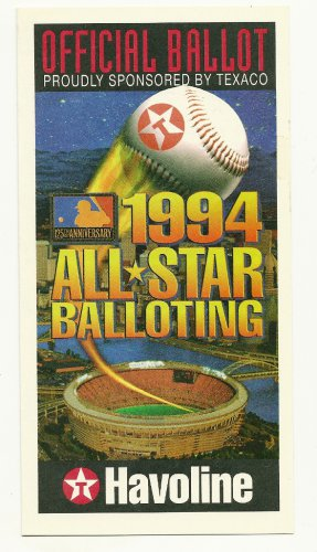 1994 MLB All Star Game Ballot Baseball Card Major League Baseball