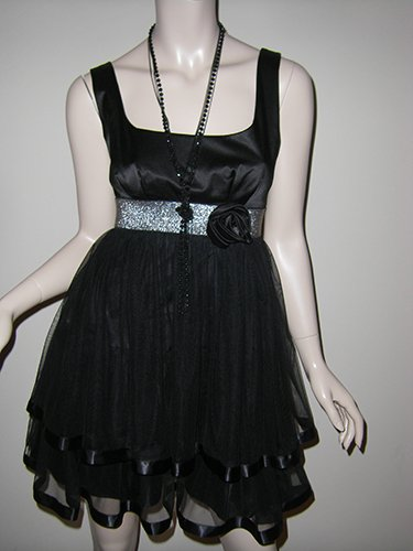 Windsor NWT Short Black Two Tiered Mesh Dress party dress