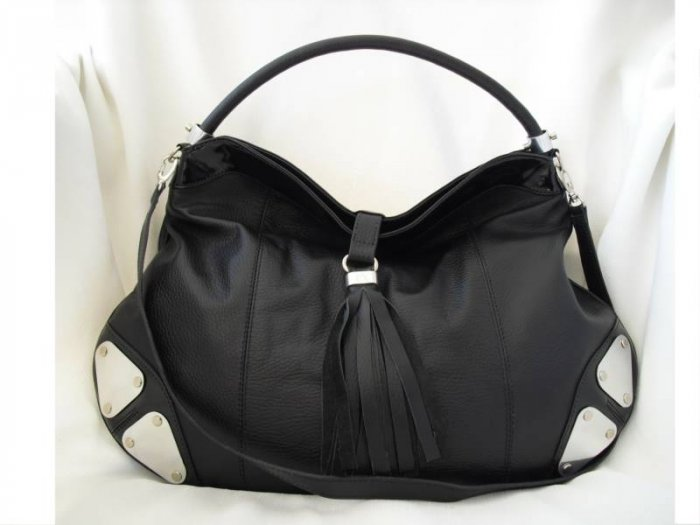 Black Hobo Leather Handbag, black patent detail