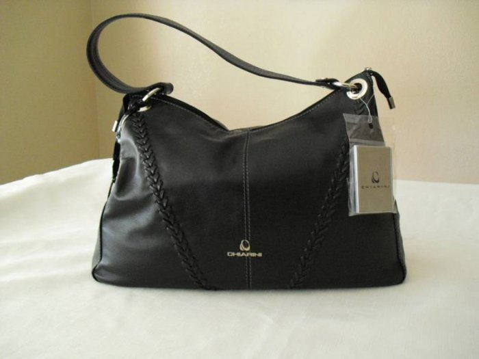 Chiarini- Black leather handbag with woven detail on front