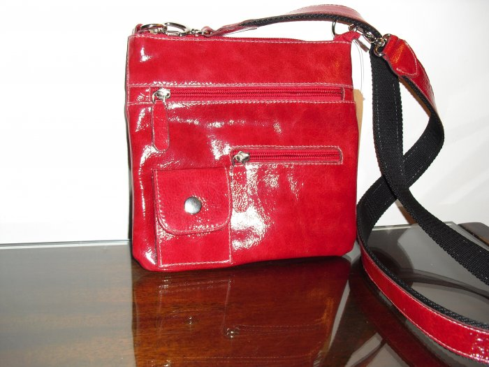 Red Patent leather crossbody handbag