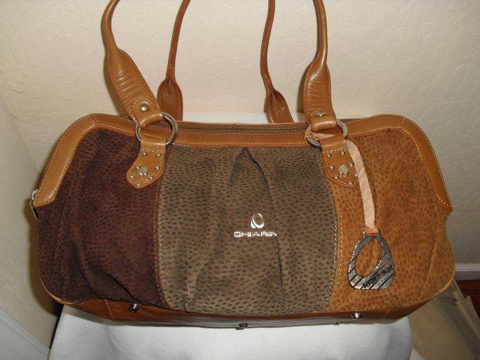 Chiarini- brown, tri-color calf leather satchel