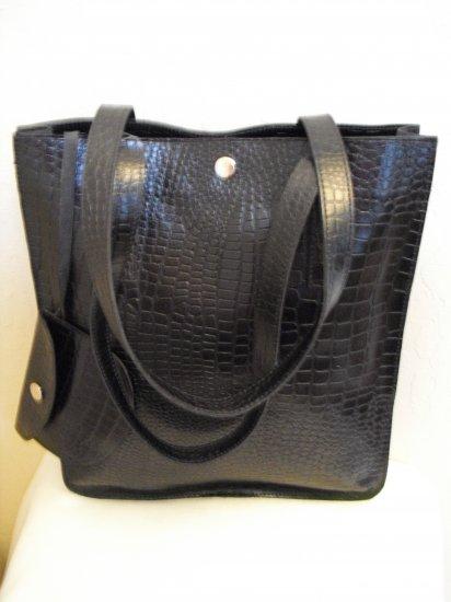 SofiSmart- Black Croco embossed leather Tote