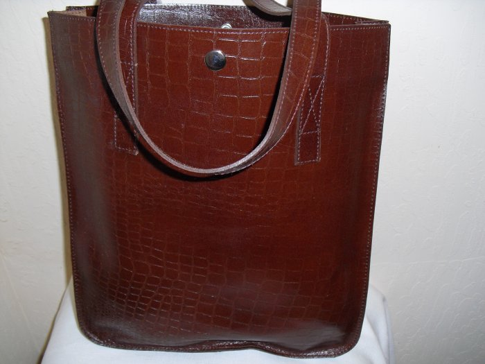 SofiSmart- Brown Croco embossed leather Tote