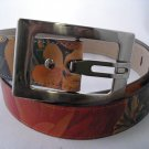Floral Print leather belt