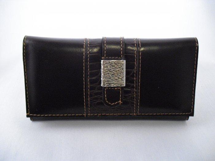 Dark Brown Leather Wallet with metallic brooch