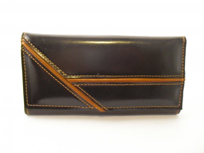 Dark Brown Leather Wallet with tan details