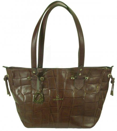 Chiarini- Gray  croco embossed leather handbag