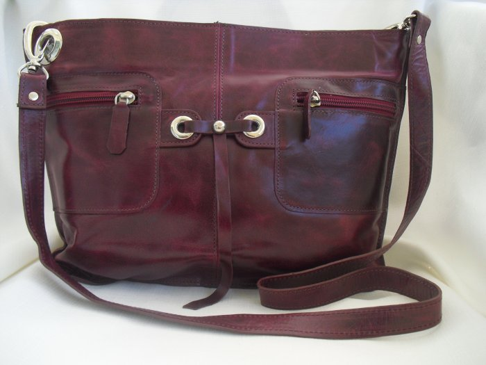 Berry Red  leather shoulder handbag