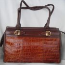 Argentina Brown leather croco embossed Handbag