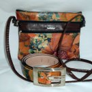 Floral Leather combo handbag and Belt