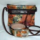 Floral Leather combo handbag and Belt
