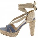 Stuart Weitzman Size 9.5 Womans Espadrille Shoes Bandana Navy Jeans Lace up Platform Heels NIB