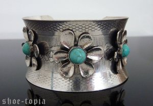 Turquoise Bracelet Cuff Southwestern Stone Silver Floral Flower Bangle