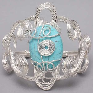 Chunky Natural Stone Wire Wrap Bracelet Silver Blue Cuff