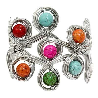 Southwestern Natural Stones Wire Wrap Bracelet Cuff Silver Bangle