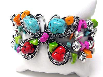 Butterfly Bracelet Turquoise Crystal Stone Beads Silver Stretch Cuff Wing