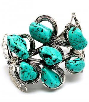 Chunky Southwest Wire Wrap Turquoise Bracelet Stones Cuff