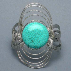 Chunky Turquoise Wire Wrap Bracelet Natural Stone Art Silver Bangle Oval Cuff