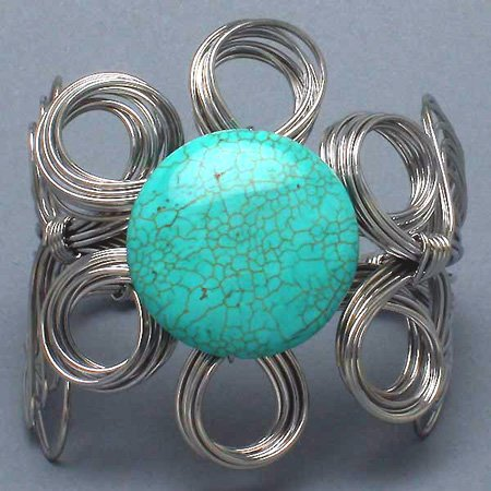 Natural Turquoise Wire Wrap Bracelet Chunky Stone Flower Art Silver Bangle Cuff